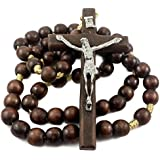 Large Beads Wall Rosary Natural Wood Catholic Necklace Metal Jesus Cross Jerusalem