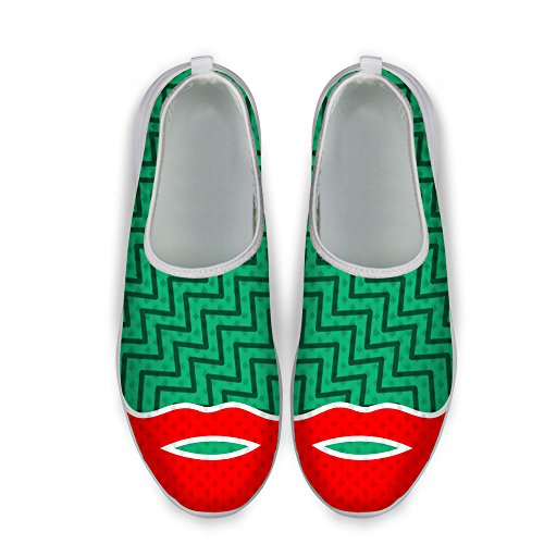 FOR U DESIGNS Stylish Sexy Lip Print Womens Slip on Mesh Running Shoes Green 1 FPv8DQsxjJ