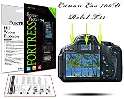 (6 Pack) Canon Eos 700D Rebel T5i Digital Camera HD High Definition Crystal Clear LCD Screen Protector Kit Exact Fit, No Cutting Needed. LifeTime Replacement Warranty (Fortress Brand)
