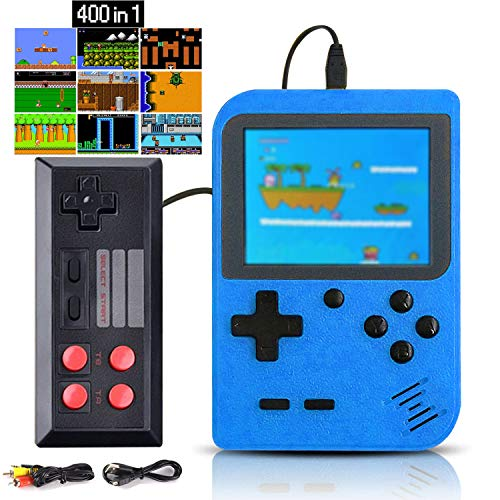Kiztoys Handheld Game Console with 400 Classical Game & 1020mAh Rechargeable Battery Support For TV Two Player, Portable Video Game & Retro Games Console for Kids and Adults.