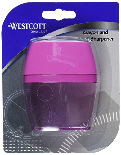 Westcott 2 Hole Crayon and Pencil Sharpener, Assorted Colors (15234)