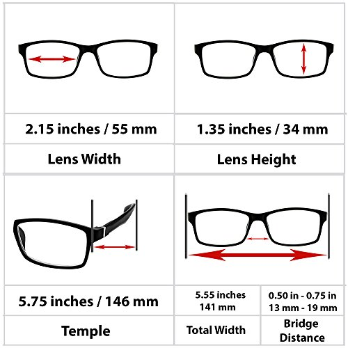 Computer Reading Glasses 0.00 Black 2 Pack Protect Your Eyes Against Eye Strain, Fatigue and Dry Eyes from Digital Gear with Anti Blue Light, Anti UV, Anti Glare, and are Anti Reflective by TruVision Readers (Image #3)'