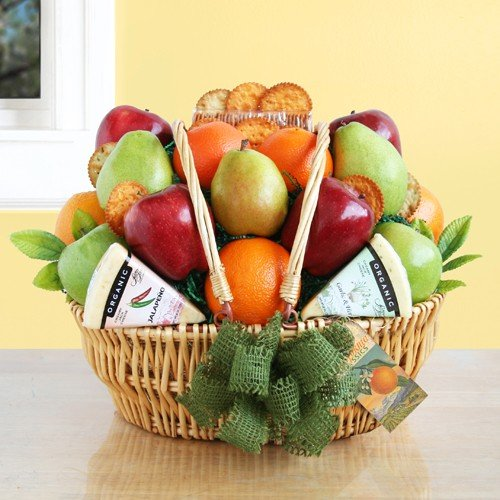 Organic Fruit Basket with Jack Cheese and Wheat Crackers by Gifts to Impress