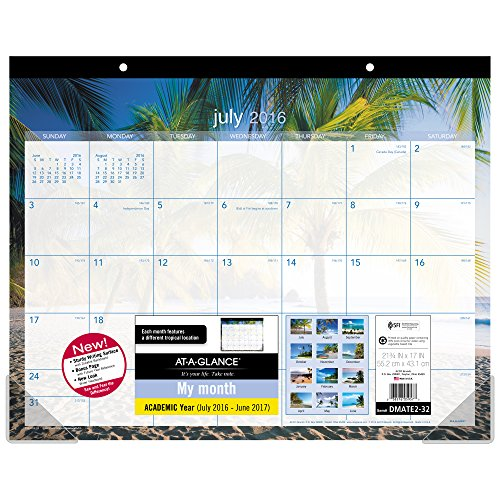 "AT-A-GLANCE Academic Year Desk Pad Calendar, Monthly, July 2016 - June 2017, 21-3/4""x 17"", School, Tropical Escape (DMATE2-32)"