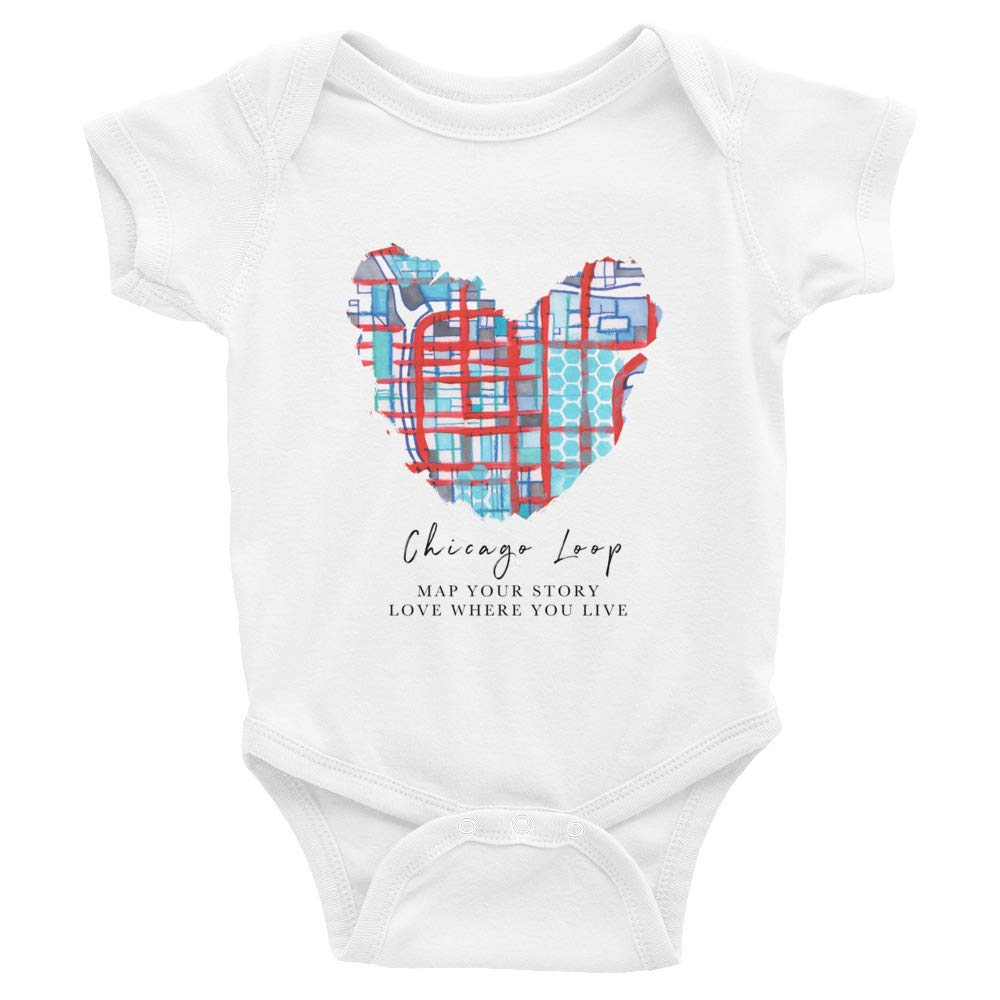 Carland Cartography Infant Bodysuit White Chicago Map Cotton