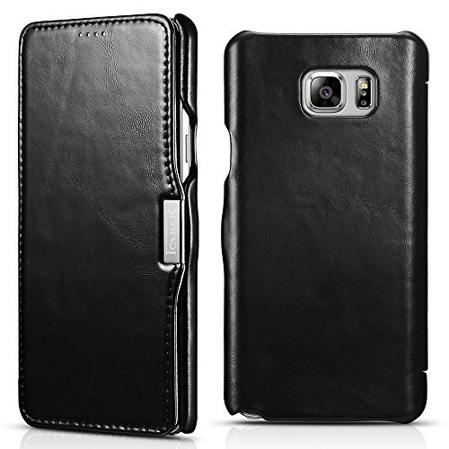 Samsung Galaxy Note 5 Leather Case, Icarercase Genuine Vintage Leather Wallet Case with Card Slot, Side Open in Ultra Slim Style, Flip Folio Cover with Magnetic snap for Samsung Note 5 (Black) (Galaxy 5 Samsung Case Folio)