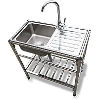 Fregadero de cocina comercial Fregadero individual independiente de acero inoxidable con banco de trabajo, apto para…