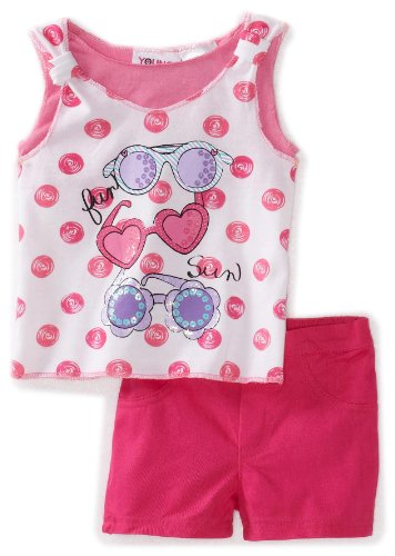 Young Hearts Baby Girls' Screenprint Tunic With Twill Short Set