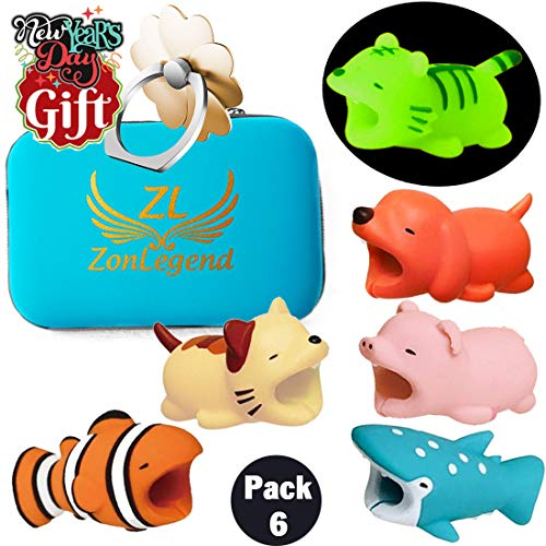 Animal Buddies Phone Cord Bites, Cute Animals Bite Cable Protector for iPhone, Cell Phone Accessories & Bites Data Line (6 Pieces with 1 Glowing Style) Bonus: Mobile Storage Box & Cell Phone Holder …