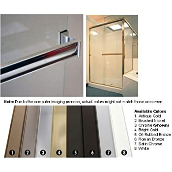 Chrome Sliding Frameless Shower Door Single Towel Bar Kit - 30 ...