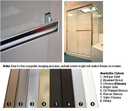 Chrome Sliding Frameless Shower Door Single Towel Bar Kit 30 Long