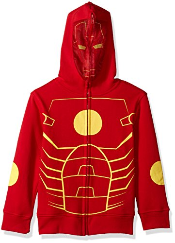 Marvel Big Boys' Ironman Fleece Zip Costume Hoodie, red, Small-10 ()