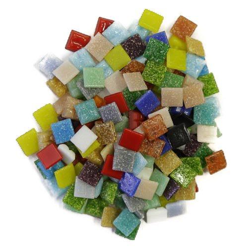 Carreaux vitreux pour mosaï que - art et artisanat –  Lot de 200 grammes (environ 300 carreaux en vrac) - 1 cm x 1 cm x 4 mm, rouge Mosaic Supplies