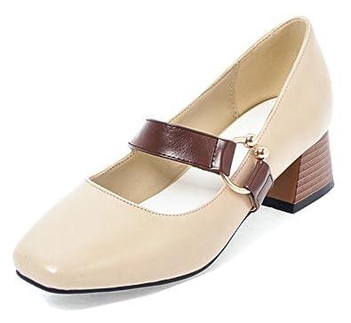 3edf8707bb7 Aisun Women s Trendy Comfort Block Mid Heel Low Cut Dressy Square Toe Slip  On Ankle Strap