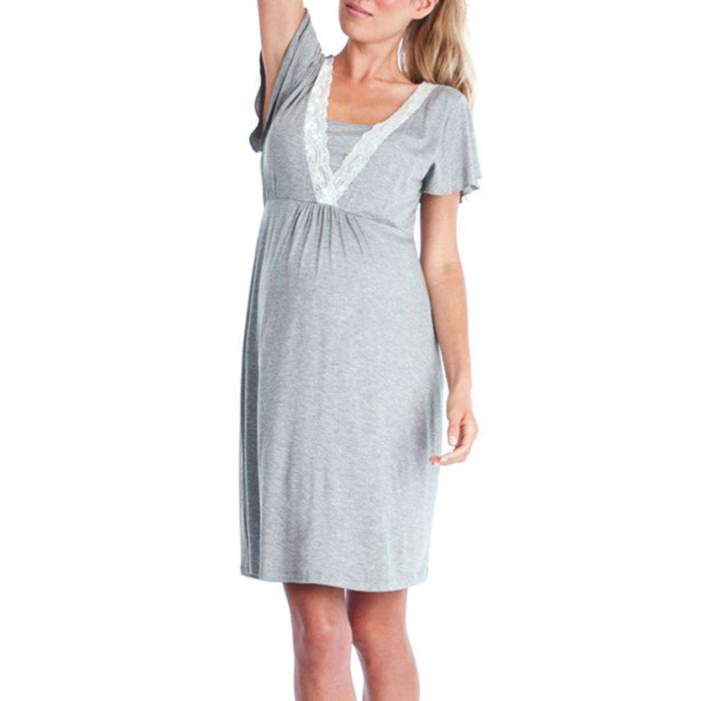 99b64a72f K-youth Vestido de Lactancia Maternidad Premamá Embarazo Lactancia Pijama  Verano Manga Corta Ropa de