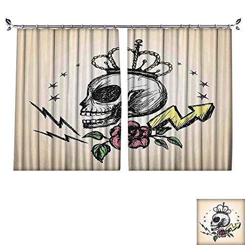 PRUNUS Colorful Waterproof Curtain with hookMexican Folk Art Inspired Skeleton with Crown and Rose Halloween Artsy Design Yellow Very Good Touch,W55 xL45 -
