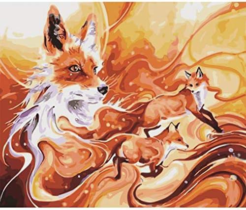 3つのかわいいキツネ動物DIY絵画番号壁アート画像アクリル絵画家の装飾60×75センチ