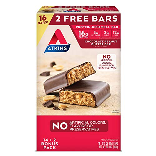 Atkins 15ct Chocolate Peanut Butter Bars Club Pack Meal Bars