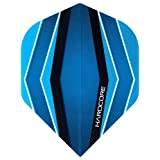 Hardcore Blue Wave Design Extra Thick Standard Dart Flights - 4 sets Per Pack (12 Dart Flights in total) & Red Dragon Checkout Card