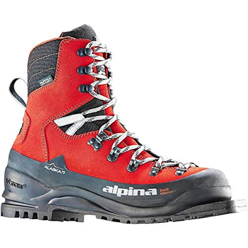 Alpina Sports Alaska 75 Leather 3 Pin 75 mm Backcountry Cross Country Nordic Ski Boots, Euro 43, Red/Black