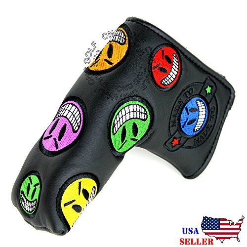 - CNC GOLF Joker Smiley Face Black Putter Cover Headcover for Scotty Cameron Taylormade Odyssey Blade