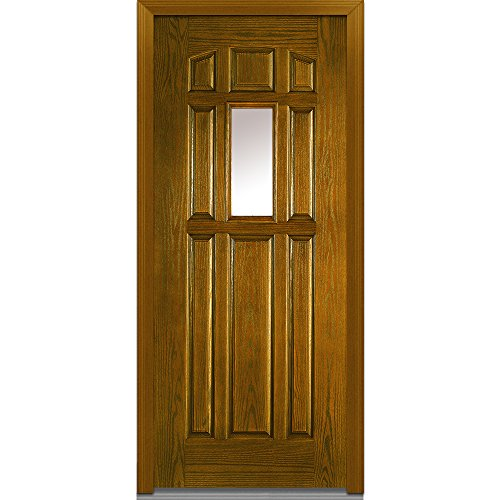 National Door Company ZA00194R Fiberglass Oak, Dark Walnut, Right Hand In-Swing, Exterior Prehung Door, Center Lite 8-Panel, - Dark Panel Door