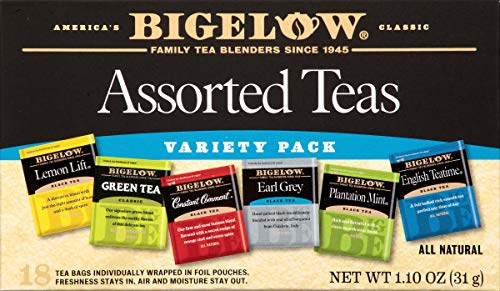 Bigelow 6 Assorted Teas 18 Bags (Pack of 6) Caffeinated Individual Green and Black Tea Bags, for Hot Tea or Iced Tea, Drink Plain or Sweetened with Honey or Sugar