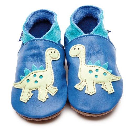 Zoll blau aus weichem Leder Baby Schuhe–Dinosaurier blau/pastell grün 0–6Monate