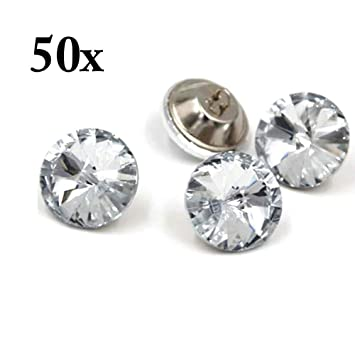 20pcs 20mm Glass Diamante Upholstery Sofa Headboard Décor Sew on Buttons Loop