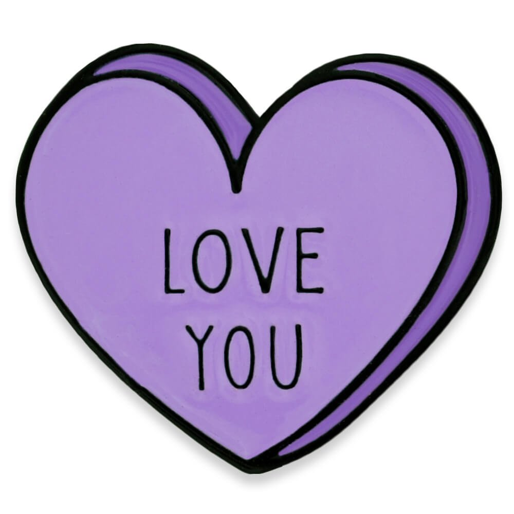 PinMart's Love You Candy Heart Valentine's Day Enamel Lapel Pin