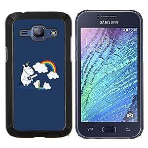 "For Samsung Galaxy J1 J100 , S-type Divertido arco iris lindo del unicornio"" - Arte & diseño plástico duro Fundas Cover Cubre Hard Case Cover"