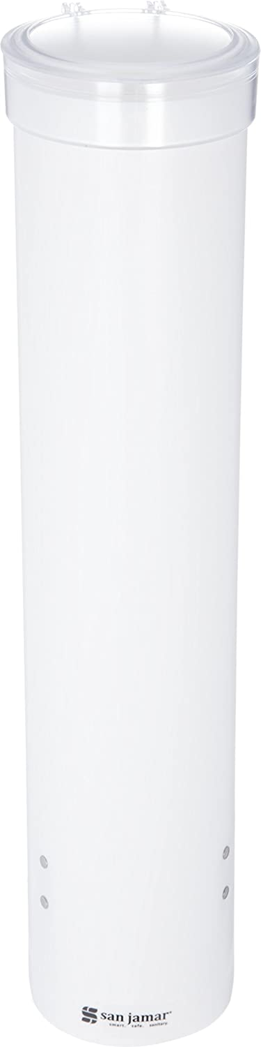 San Jamar C3165 Medium Pull Type Water Cup Dispenser, Fits 4oz to 10oz Cone and Flat Cup Size, 2-1/4 to 3-1/4 Rim, 16 Tube Length, White 16 Tube Length C3165WH