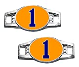 Number Charms (00-99) Jersey Style in Team Colors for Shoelace / Paracord (Orange & Navy Blue)