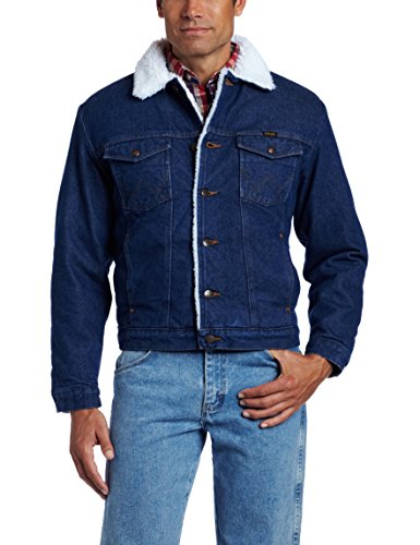 Wrangler Men's Sherpa Lined Denim Jacket, Denim/Sherpa, Large