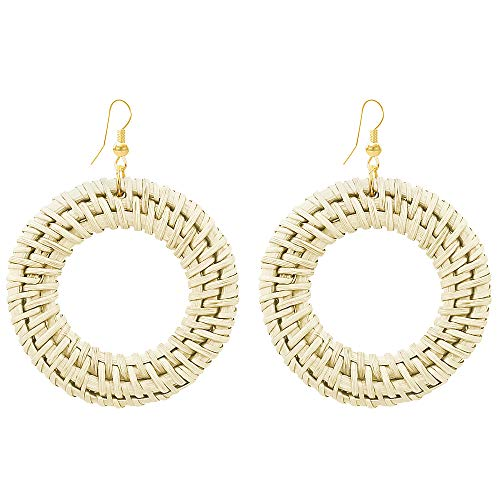 Fashion Handmade Beige Circle Round Earrings Rattan Weave Earrings Hoop Straw Weave Earrings for ()