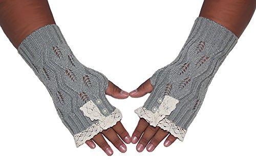 海岸光沢いっぱいjcpenielコットンレースケーブルパールボタンニット指なし手袋手首暖かいミトン