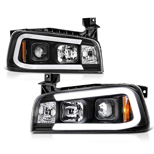 2008 Dodge Neon Headlight - [For 2006-2010 Dodge Charger Halogen Model] OLED Neon Tube Black Projector Headlight Headlamp Assembly, Driver & Passenger Side