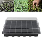 24 Holes Seedling Nursery Box Pots Tray With Lid Flower Plants Seedling Planter Garden Farmland Gardening Tools Supplies Black
