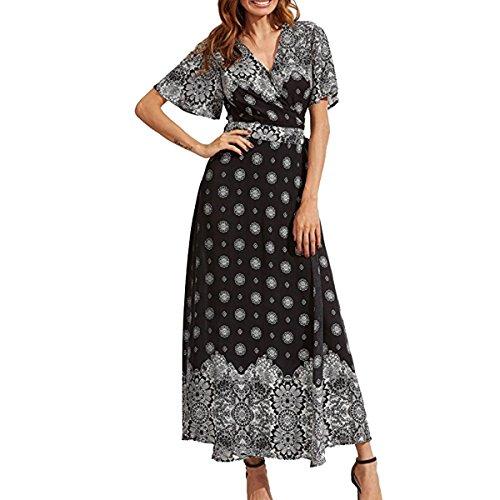 oboss Women's Bohemian Hawaii Style Short Sleeve V Neck Button up High Waist Split Floral Print Wrap Maxi Long Dress (3309 Black Snow)