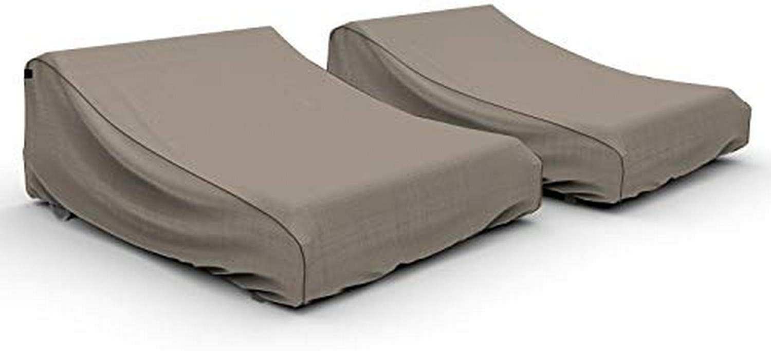 Budge P2A01PMNW2-2PK NeverWet Mojave Double Patio Chaise Lounge Cover (2 Pack) Waterproof, UV-Resistant, Durable, (2-Pack), Black Ivory
