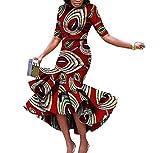Mfasica Womens Short Sleeve Mermaid Africa Dashiki Batik Retro Maxi Dress 1 6XL
