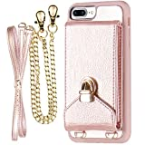 iPhone 7 Plus Crossbody Purse for Women, ZVEdeng iPhone 7 Plus/8 Plus Crossbody Bags Cell Phone Purse with Credit Card Holder, Rose Gold