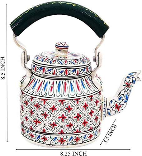 Craftkriti Decorative Made in India Hand-Painted Aluminum Vintage Tea Pot/Tea Kettle Use in Culture Function, Picnic & Showpiece Home Décor by