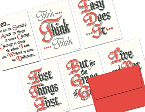Sobriety Slogans - 36 Note Cards - 6 Designs - Red Envelopes Included