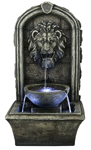"The Cair Paravel - 32"" Floor/Wall Fountain w/LED Lights: Indoor/Outdoor Water Feature Perfect for Patios, Welcome Areas, Porches, Decks, Gardens. HF-F04-32L"