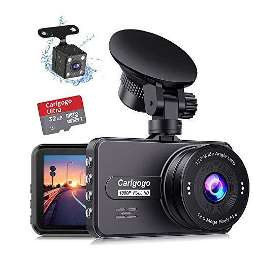 Dash Cam For Cars Front and Rear with SD Card Full HD 1080P Carigogo Backup Camera 3 Inch IPS Screen 170° Wide Angel Dual Cam with Night Vision, G-sensor, Motion Detection, Parking Monitor, Loop Recording