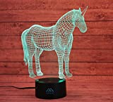 Unicorn 3D Night Light Touch Table Desk Lamps, 7 Color Changing Lights Fashion Creative Home Decoration Gifts…