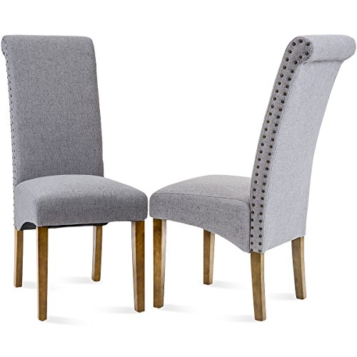 Merax Dining Chairs Set of 2 Fabric Padded Side Chair with Solid Wood Legs, Nailed trim(Grey) (Side Chair High)