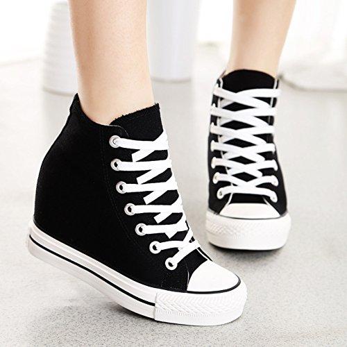 Femme Confort Simple Basket Lacets Toile Sneakers Mauea Décontractées Tennis Montante Compensee Chaussures Mode nSxgqq4
