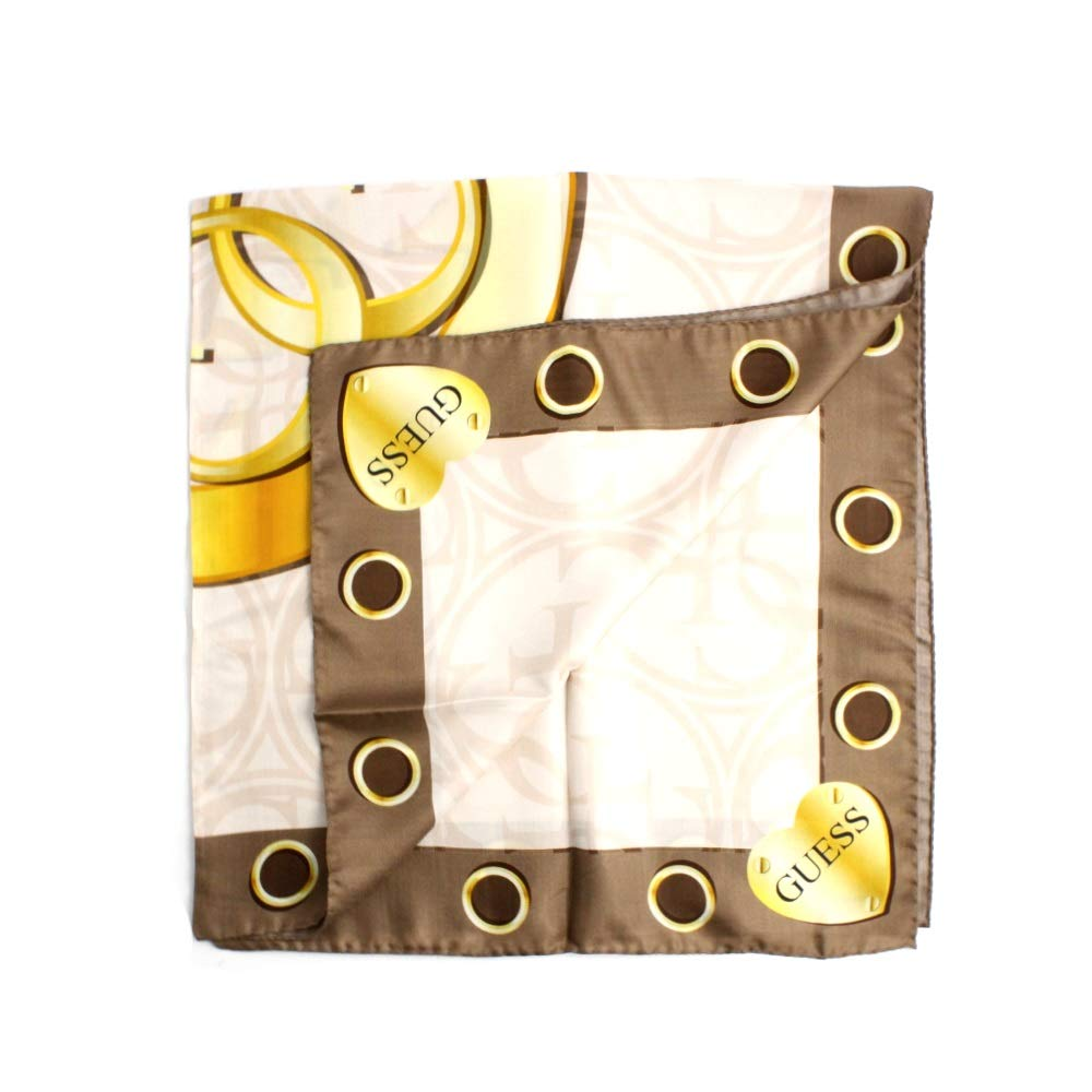 PRODOTTO MADE IN ITALY Composizione: 54/% modal 27/% viscosa 19/% seta Guess Foulard donna fantasia logo beige AW8045SIL90CAO giallo e oro